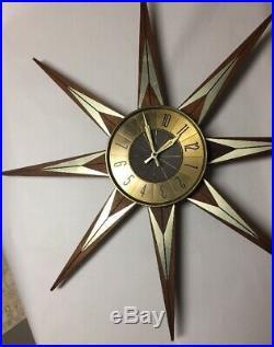 Vtg Mid Century Modern Retro Elgin Sunburst Starburst Wood Gold-Tone Wall Clock