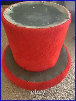 Vtg Mid Century Modern Retro Red Faux Fur MUSHROOM Foot Stool Ottoman