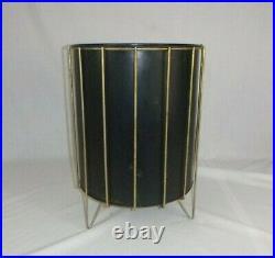 Vtg Mid Century Modern Richard Galef Ravenware Metal Cage Waste Basket Trash Can
