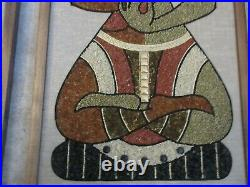 Vtg Mid Century Mosaic Pebble Gravel Wall Art Panels PAIR Buddha Vasudhara 36