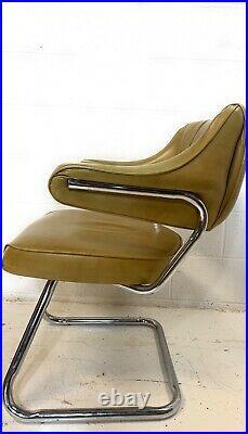 Vtg Mid Century Retro Dinette Chrome Metal Tubular Vinyl Chair MCM