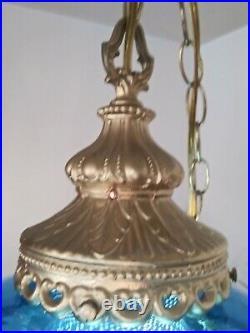 Vtg Mid Century Retro Hanging Swag Light Lamp Blue EF SMITH Glass