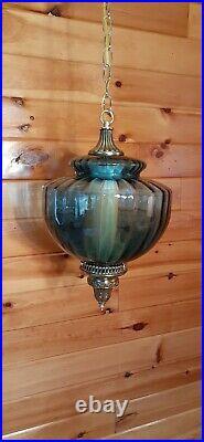 Vtg Mid Century Retro Hanging Swag Light/Lamp Dark Blue Glass Design