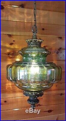 Vtg Mid Century Retro Iridescent Green Glass Hanging Swag Light/Lamp