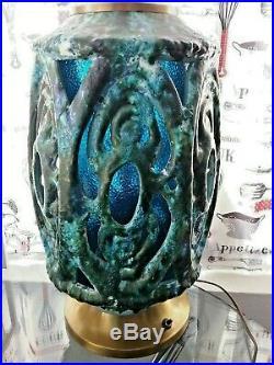 Vtg Mid-Century Retro LARGE Ceramic Brutalist Blue Green Lamp 3 way lighting