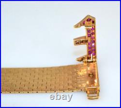 Vtg Mid-century Retro Diamond & Red Stone 14k Yellow Gold Mesh Buckle Bracelet
