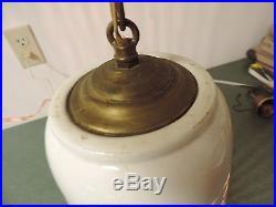 Vtg Mid century Retro Pottery Porcelain Chain Hung Ceiling Swag Light