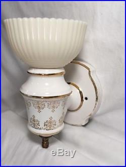 Vtg Moe Light Sconce Retro Mid Century Wall Fixture Petalware Cremax Porcelain