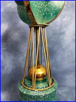 Vtg Space Age Retro Mid Century Ceramic and Brass Lamp, Globe Gilt Speckled 60s