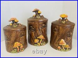 Vtg Treasure Craft Merry Mushroom 70s Canister Set MCM Retro Kitchen Cottagecore
