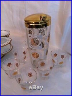 Vtg cocktail shaker glasses caddy mid century modern bar cart set 50s 60s retro