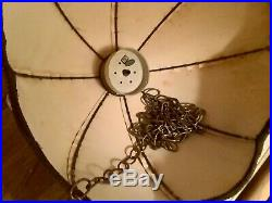Vtg gold yellow Velvet Hanging swag or table Lamp Shade mid century retro mcm