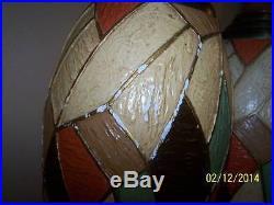 Vtg mid century retro ceramic pottery geometric shape table lamps set2 FAIP 38