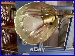 Vtg retro brass clam shell floor lamp gooseneck Hollywood Regency Mid-Century