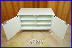 White Marble Florence Knoll Credenza 95 Sideboard Cabinet, Vintage Mid Century