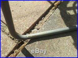Wicker Rattan Foot Stool Grey Metal Legs Mid Century Modern Vintage Retro Style